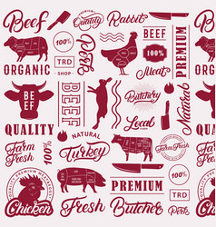 typographic butchery seamless pattern background vector image
