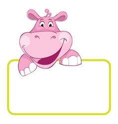 baby hippo cartoon label vector image