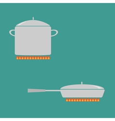 Pan and saucepan set on fire Coocing icon Flat vector image vector image