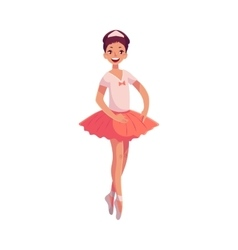 Pretty young ballerina in pink tutu standing on vector image