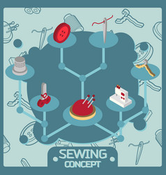 sewing color isometric concept icons vector image vector image
