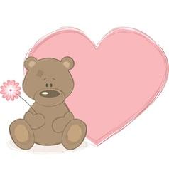 teddy bear and big heart vector image vector image