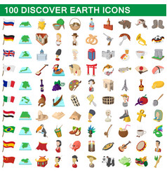100 discover earth icons set cartoon style vector
