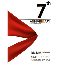 7 anniversary design with big red ribbon isolated vector