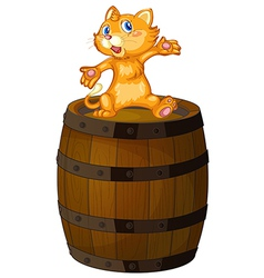 A wooden barrel with a cat vector image