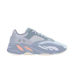 adidas yeezy boost 700 inertia sneaker shoe con vector image