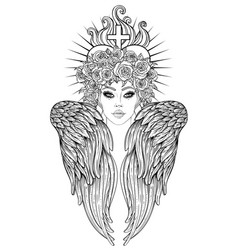 angel girl with wings and halo isolated hand vector image