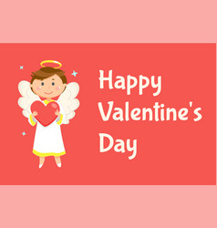 angel holding heart happy valentine day vector image
