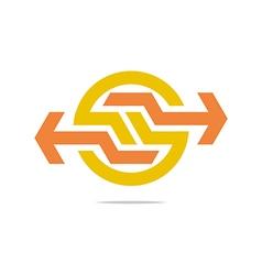arrow symbol hexa connecting icon vector image