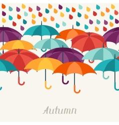 Autumn background with umbrellas in flat design vector