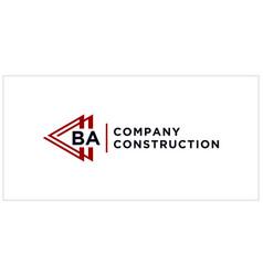 Ba triangle connect logo design vector