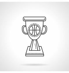 Basketball winner cup flat line icon vector image