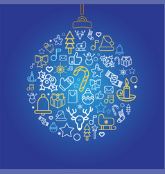 bauble silhouette with xmas holiday linear icons vector image