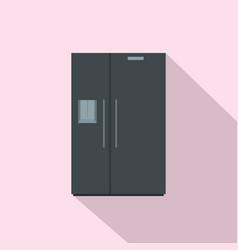 black fridge icon flat style vector image