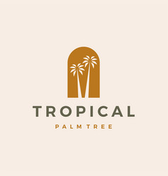 bohemian palm tree niche door logo icon vector image