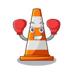 Boxing traffic cone on road cartoon shape vector