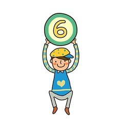 boy holding number vector image