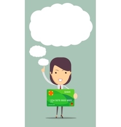 Business woman holding new credit card vector