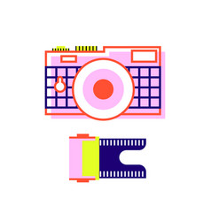 camera in flat style and film for the camera vector image
