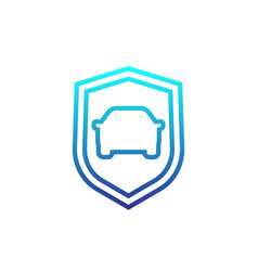car and shield linear icon vector image
