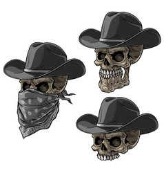 cartoon bandit skulls with hat and scarf vector image