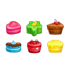 Cartoon colorful sweet cakes set vector