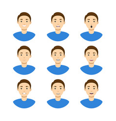 cartoon man avatar set different types emotions vector image