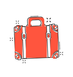 cartoon suitcase icon in comic style case for vector image