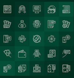 Cash back linear icons collection cashback vector