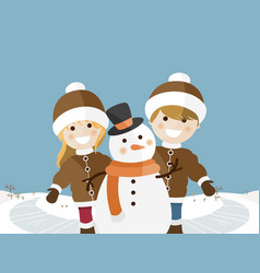 Children playing on a sunny winter day vector