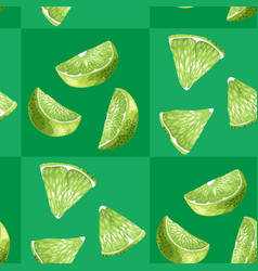 citrus lime tile seamless pattern in green colors vector image