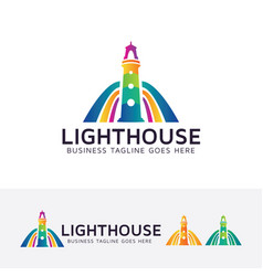 colorful lighthouse logo design vector image