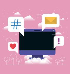 computer desktop with social media messages vector image