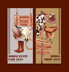Cowboy flyer design with vest hat cow skull boots vector