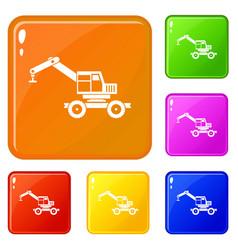 Crane truck icons set color vector