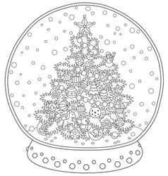 crystal ball with a christmas tree vector image