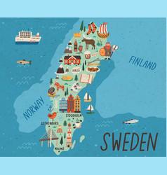 Cultural map sweden flat vector
