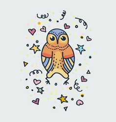 cute doodle owl hand drawn vector image
