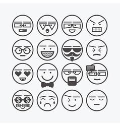Cute line black circle emoticons set vector