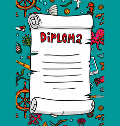 diploma in sea style template scroll on a hand vector image