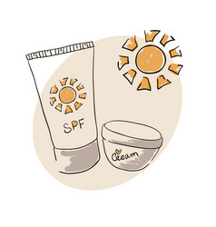 Doodle image sunblock cream for body skin care vector