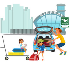 family man with girls car transfer to airport dad vector image