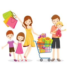 Family Shopping and Gift Box in Shopping Cart vector