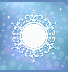 Festive template snowflake frame for new year vector