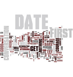 First dates text background word cloud concept vector