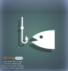 Fishing icon symbol on the blue-green abstract vector image