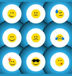 Flat icon emoji set of happy sad displeased and vector