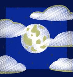 Flat shading style icon full moon sky vector