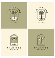 four palm tree logo emblem set one vector image