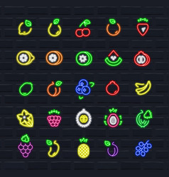 Fruits icon set in outline neon style vector